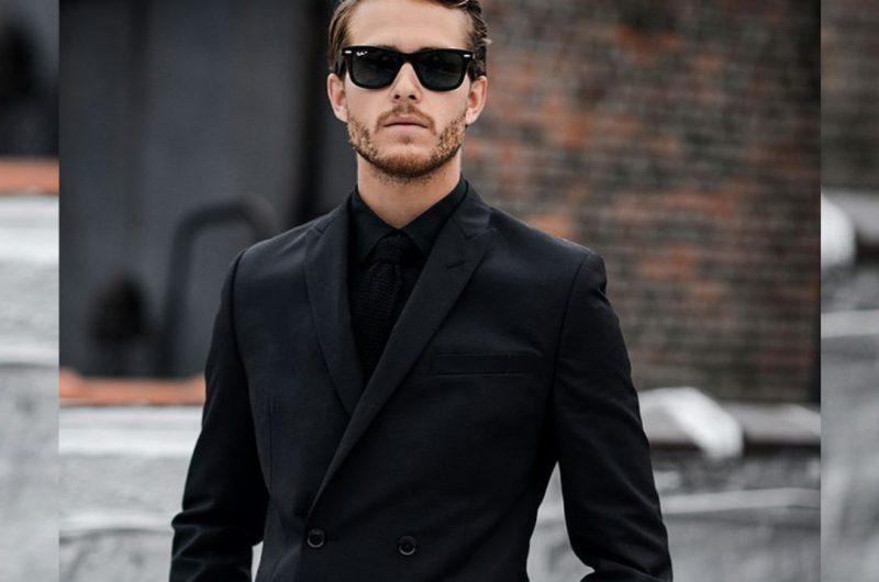 camisa de vestir negra para hombre