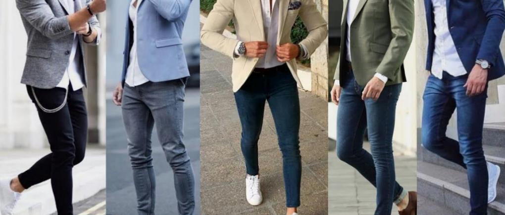 hombre usando saco y pantalón de mezclilla