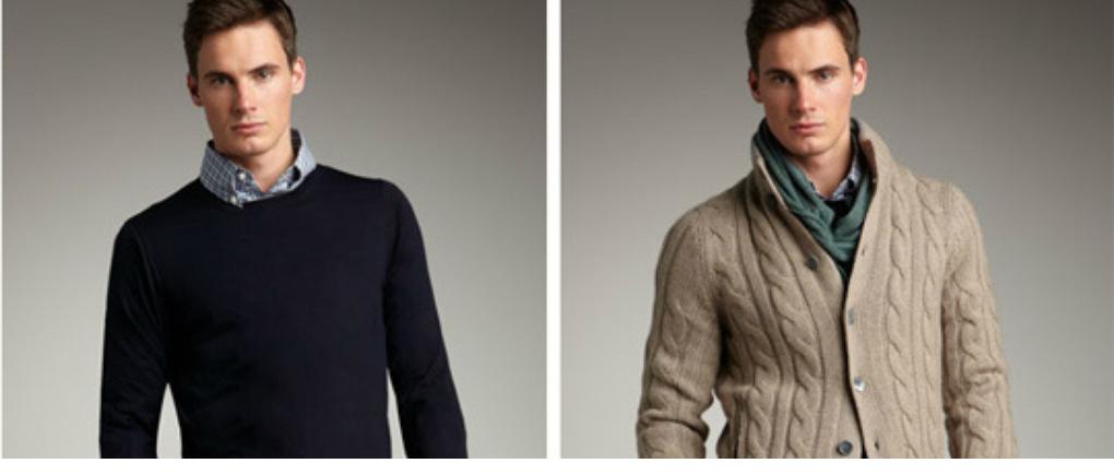 Hombre con suéteres distintos.