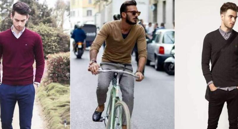 Hombres con suéteres distintos.