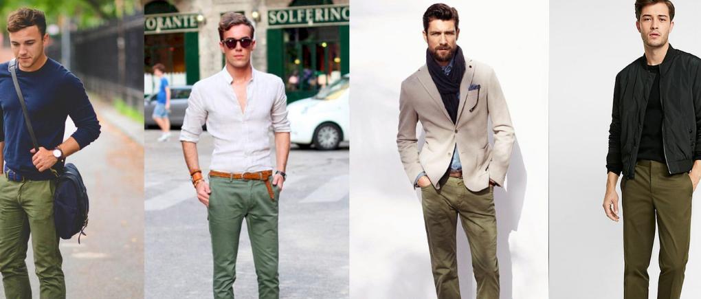 Hombres con pantalón chino verde.