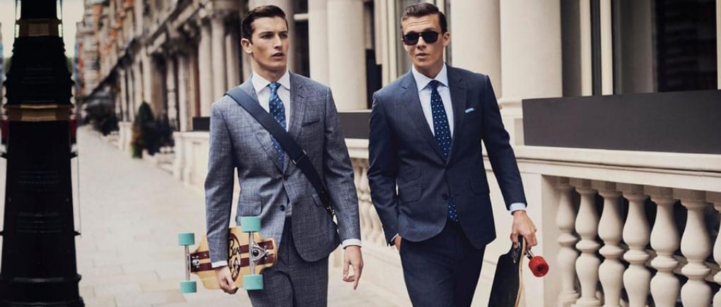 Hombres con traje de vestir de negocios.