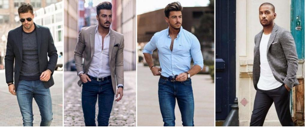 Hombres con ropa de talla y encaje correctos.